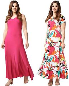 Attitudes-by-Renee-Womens-Jersey-Set-of-2-Maxi-Dresses-Large-Rose-A347401