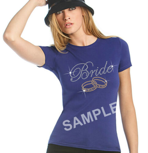 "/""Bride /& Bangles/"" Party Rhinestone Transfer Hotfix Iron on Appliqué+Free Gift"