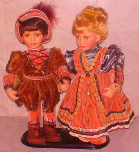 "NIB Porcelain Dolls Prince Princess New Retired Piece Fairy Tale Style 15/"" High"