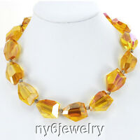 Large Gold Crystal Nugget Silver Toggle Necklace Jewelry 19
