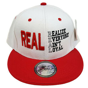 fd46a355ab3 Details about REAL (REALIZE EVERYONE AIN T LOYAL) White Red Snapback Cap