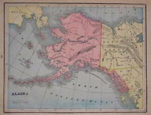 1895-Trading-Post-Map-ALASKA-TERRITORY-Sitka-Fort-Yukon-Alaganik-Village-Barrow