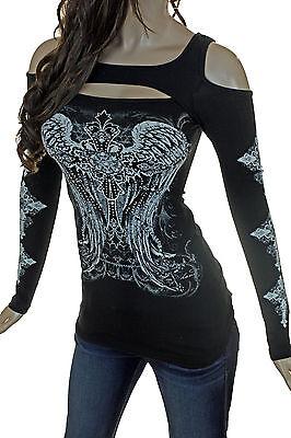 Bling Plus Peekaboo Open Cold Shoulder Crystal Cross Wing Tattoo Long Sleeve Top