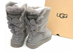 f89c3f81f50 Details about UGG Australia BAILEY BOW SHORT RUFFLE Knit BOOTS Charcoal  Grey Shearling 1095794