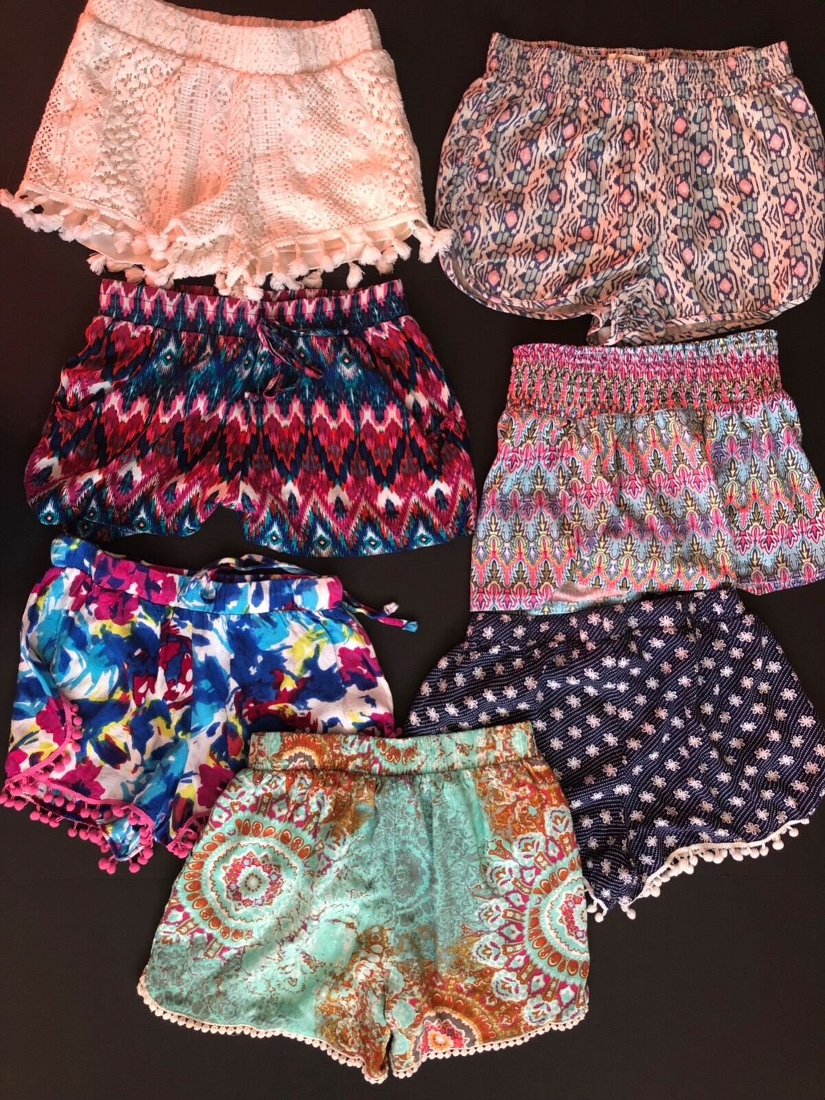 Bohemian shorts Lot 7 pieces XS S great used cond. juniors tassels