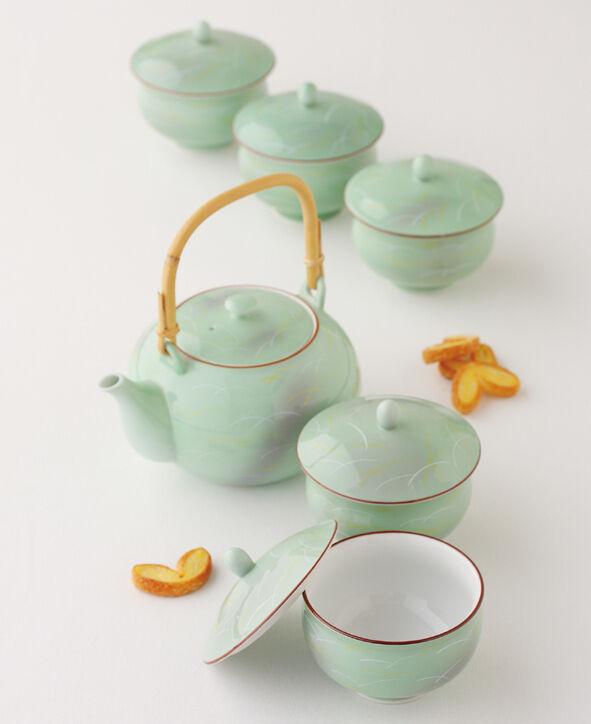 Hasami Porcelain  SAGANO-japonais Kyusu Tea Pot & 5 Tasse à Thé Set w Box