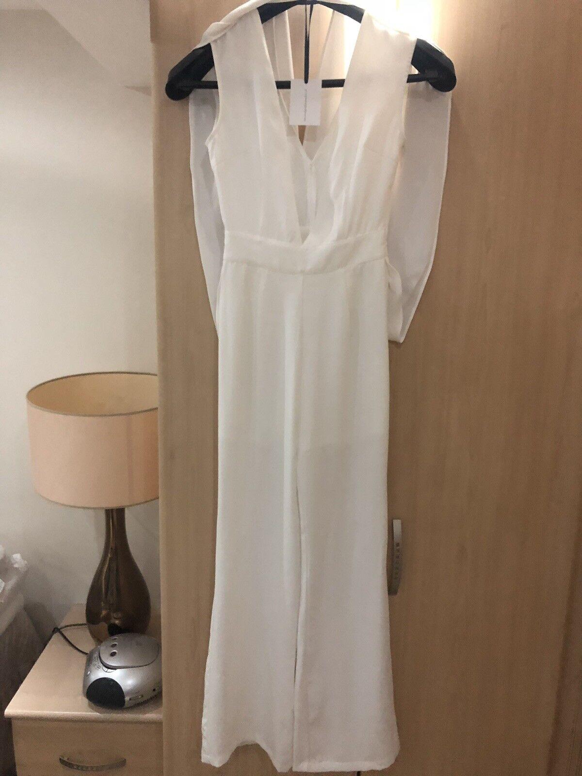 Ladies jumpsuit size 8 White Handmade Never Worn