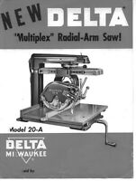 Delta Rockwell Model 20-a Multiplex Radial Arm Saw Instructions