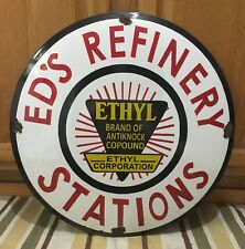 Vintage Ed's Refinery Station Porcelain Sign gasoline oil gas Rare Pump Can Tire