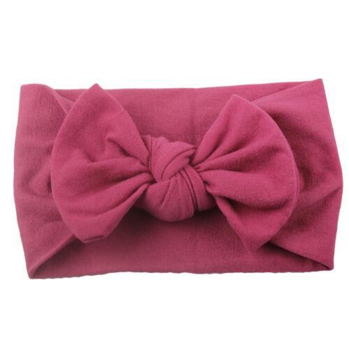 Girls Baby Toddler Turban Solid Headband Hair Band Bow Accessories Headwear XI