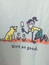 """LIFE IS GOOD Womens """"Dirt So Good"""" Light Blue 100% Cotton T-Shirt Sz XXL"""
