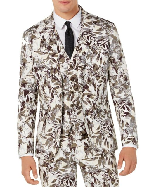 INC Mens Blazer Taupe Gray White Size 3XL Floral Printed Slim Fit $129 #004