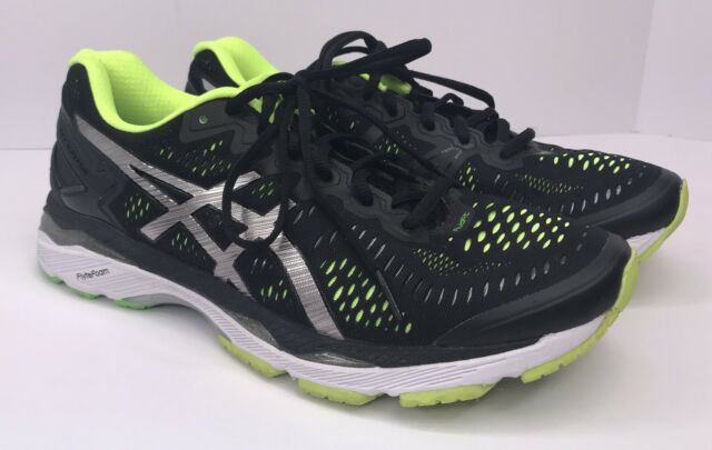 Asics Gel KAYANO 23 T646N Mens 9 Tech Running Shoes Sneakers Black Green Silver