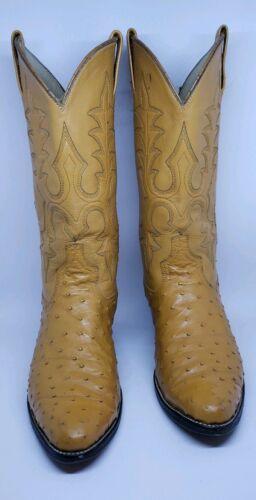 Men's Western Ostrich Boots size 8.5 C Toe