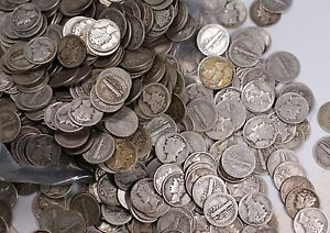Mercury-Silver-Dime-Fine-90-Lot-Bag-of-Five-Dollars-Worth-50-Circulated-Coins