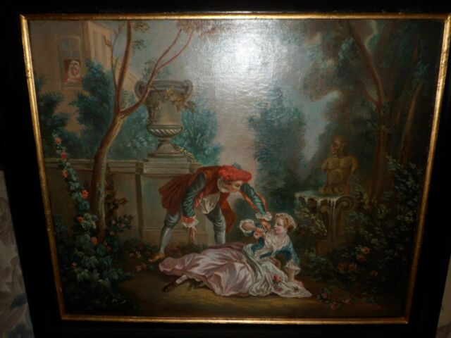 ANTIQUE 1800'S ORIGINAL FRENCH PAINTING ROCOCO INSPIRED YOUNG COUPLE. OIL/CANVAS