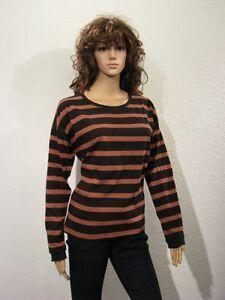 Damen-T-Shirt-gestreift-Ringel-Look-schwarz-braun-Gr-34-36-38-40-NEU-033