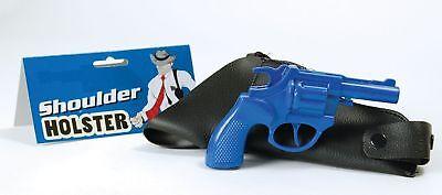 Blue Gangster Police Shoulder Holster /& Toy Revolver Bond 007 Spy Gun