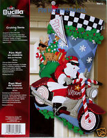 BUCILLA CRUISING SANTA kit #86016 aka MOTORCYCLE new unopened Craft Supplies