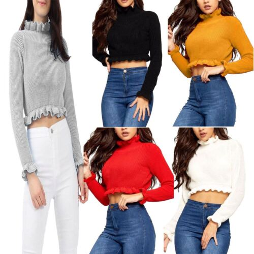 Womens Ruffle Frill Hem Knitted Cropped Jumper Ladies Plain Winter Sweater Lot