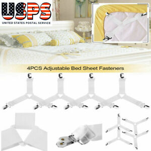 4pcs Triangle Bed Sheet Adjustable Fasteners Grippers Elastic Straps Clips Grips