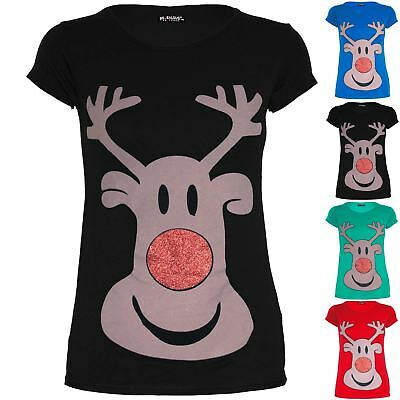 Kids Girls Christmas Xmas Cap Sleeve Glitter Nose Reindeer Face Printed T Shirt
