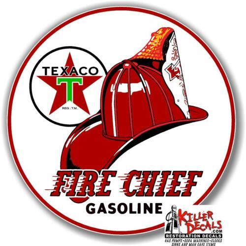 "6/""  TEXACO FIRE CHIEF GASOLINE ROUND DECAL OIL GAS PUMP LUBSTER TEXA-4-2"