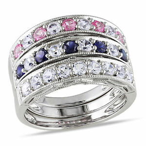 Sterling Silver Created Sapphire Stackable Rings Set of 3 with Bonus Clutch