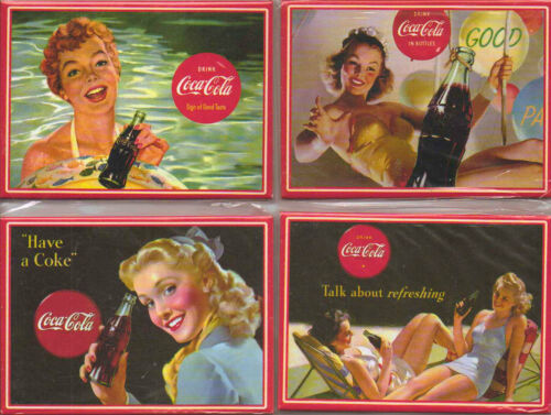 SEALED VINTAGE STYLE COCA COLA  ADVERT FRIDGE MAGNETS SET OF 4  BRAND NEW