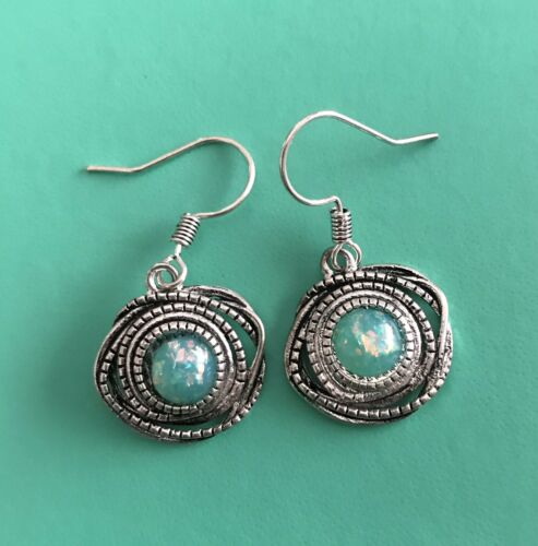 EAR-300 925 Sterling Silver Turquoise Dangle Boucles d/'oreilles pendantes
