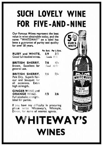 Whiteways wine Wall art. Vintage Magazine advert Reproduction poster