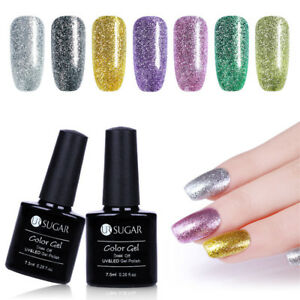 UR-SUGAR-7-5ml-Soak-Off-UV-Gel-Polish-Glitter-Platinum-Nail-Art-Varnish