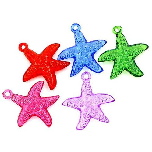 50 Starfish Charm Pendants Colorful Acrylic Kitschy Fun K120