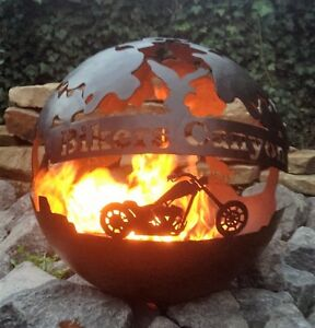 feuerschale feuer kugel metall feuerkugel rost optik edelrost tischfeuer biker ebay. Black Bedroom Furniture Sets. Home Design Ideas