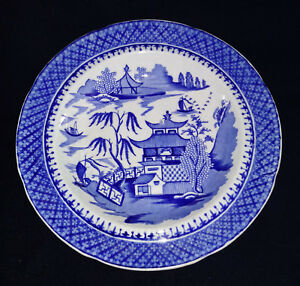 J-amp-W-Ridgway-Flow-Blue-Willow-Bowl-Dinner-Plate-Dish-Oriental-Antique-China