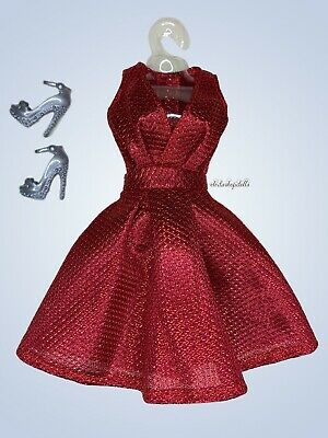 Holiday Red Knitted Dress Knitted Fashion Pack Clothes Lot Fits Barbie Doll