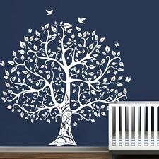 White Tree Wall Sticker Motivation Family Vinyl Bird Baby Room Mural Decor Large