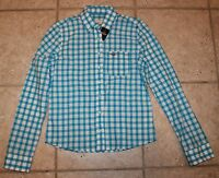 Hollister Womens Small Blue White Squared Button Front Long Sleeve Top