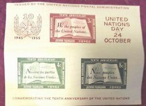 Nazioni UNITE SOUVENIR SHEET #38 OTTOBRE 24, 1955, primo giorno non annullata