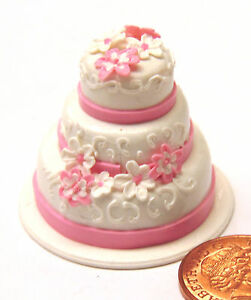 1 12 Scale Pink White 3 Tier Wedding Cake Tumdee Dolls House Party