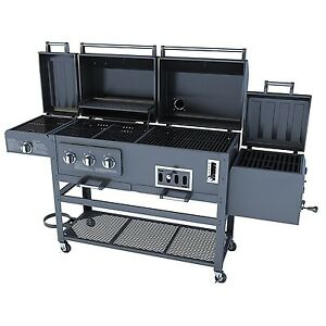 large 4 in 1 combo natural gas charcaol grill 3 burner with bbq smoker box sear ebay. Black Bedroom Furniture Sets. Home Design Ideas