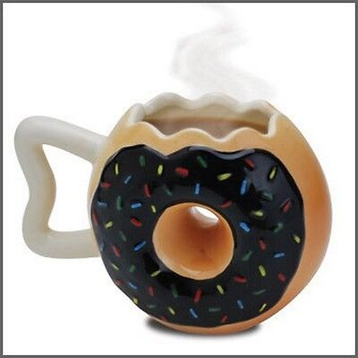 Donut Mug Vintage Coffee Cup Hot Chocolate Cup Dish Drinking Tea Ceramic 12 oz
