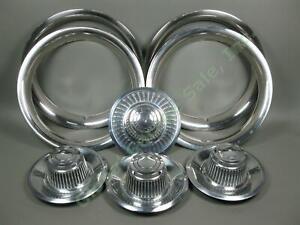 Vintage-OEM-Chevy-GM-Camaro-16-034-Chrome-Rally-Trim-Rings-amp-Derby-Center-Caps-Set