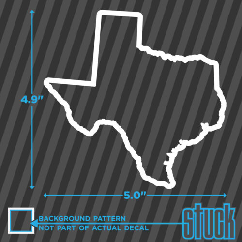 vinyl decal sticker track map style Texas State Outline size