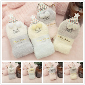 1-Pair-Fluffy-Coral-Fleece-Sock-Knee-High-Warm-Cosy-Fuzzy-Socks-Cute-Dog-Printed