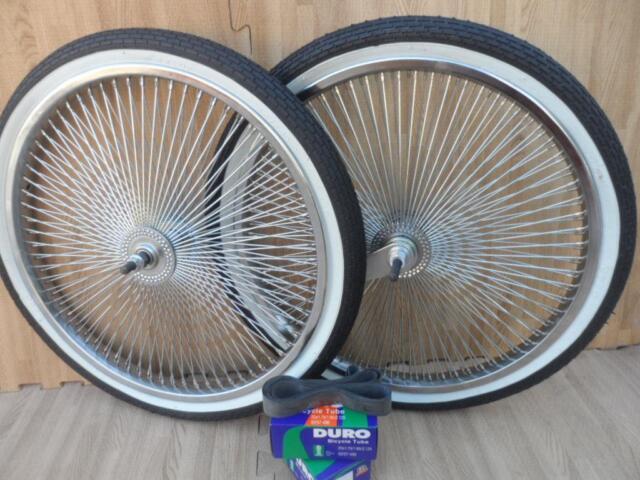 "20/"" Lowrider Bicycle Dayton Chrome Wheels /& White Walls 140 Spoke Front /& Rear"