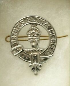 Bien Art Pewter Écossais Clan Crest Robert Badge Broche Kilt Dissipation Rapide De La Chaleur