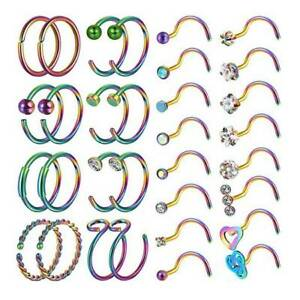 32PCS-LOT-CZ-Nose-Rings-Hoop-Screw-Nose-Stud-Surgical-Steel-Piercing-Jewelry-20G
