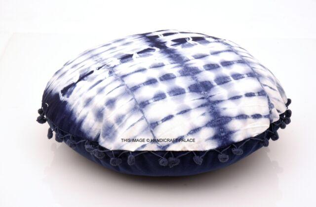 40.6cm Rotondo Decorativo Pom Copricuscino Blu Indigo Cotone Indiano Finto