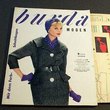 Modezeitschrift BURDA MODEN 9/1959 -2 Schnittmuster-Bg 50er Jahre Kostüme Mäntel